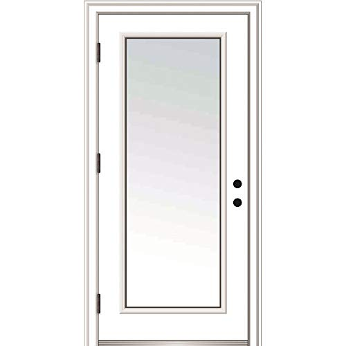 National Door Company ZZ364628R Fiberglass Smooth, Primed, Right Hand Outswing, Prehung Door, Full Lite, Clear Glass, 36