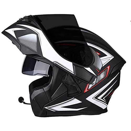 Casco de Moto Modular Bluetooth Integrado,ECE Homologado con Doble Visera Dultos Unisex Hombres Mujeres Bluetooth Integrado Modular Casco E,XXXL63~64cm