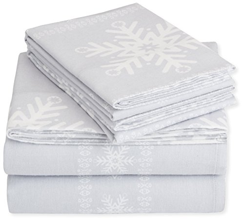 Pinzon Cotton Flannel Bed Sheet Set  King Snowflake Grey