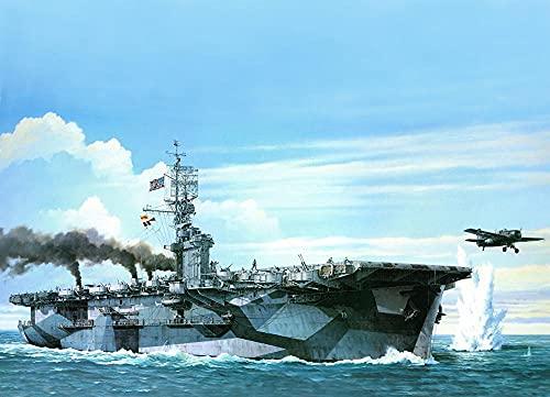 ZGNH Pintura por numeros Pintura acrilica Adultos niños y Principiantes Pintar con numeros Kit(40x50cm sin Marco Lona Decoración del Hogar Regalo -Portaaviones de la Segunda Guerra Mundial US Navy