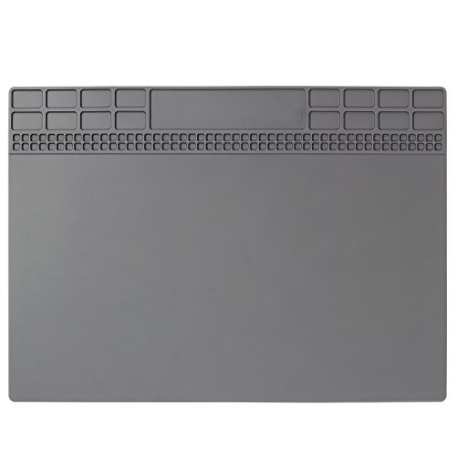 Heat Insulation Silicone Repair Mat Premium Magnetic Soldering Mat Heat Resistant 932°F Electronics Workbench for Soldering Iron, Phone and Computer Repair 13.8'' x 9.8'' Gray