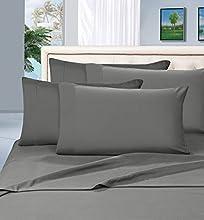 Elegant Comfort Juego de sábanas de 1500 Hilos, Calidad egipcia, 6 Piezas, Resistente a Las Arrugas, Queen, Gris