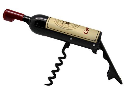 Vin Bouquet FID 313 Décapsuleur Mini Bouteille, ABS et SS, Noir et Bordeaux, 13 X 2.5 X 2.5 cm