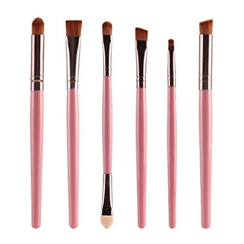 MERIGLARE 6 Pièces Pinceaux De Maquillage Pour Les Yeux Doux Pinceau à Paupières Applicateur Crème Brosse Ensemble De Pinceaux - Café rose