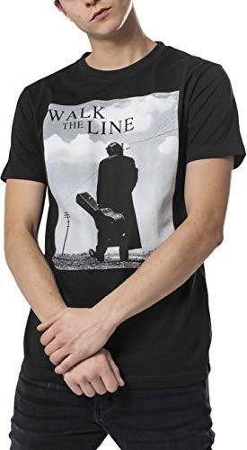 MERCHCODE Jungen Johnny Cash Walk The Line Tee 1012_t-Shirt Kurzarm, Black, XXL