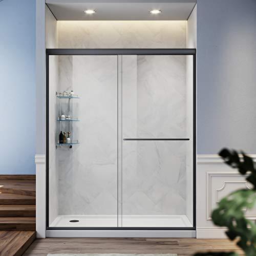 SUNNY SHOWER Glass Shower Door Frameless Double Sliding Shower Glass Door, 1/4 inch Clear Glass Shower Panel, Stainless Steel Hardware, Bathroom Sliding Door, Black Finish 46.5-48 in.W x 72 in.H