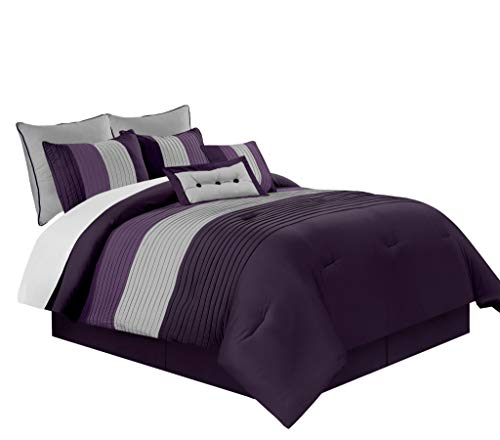 Chezmoi Collection 6-Piece Luxury Striped Comforter Set (Twin, Purple/Lavender/Gray)