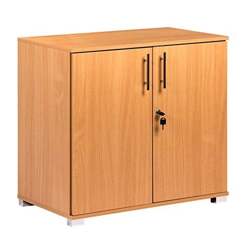 Büroschränkchen aus Buchenholz mit 2 Türen, 73 cm hoch, erweiterbare Höhe