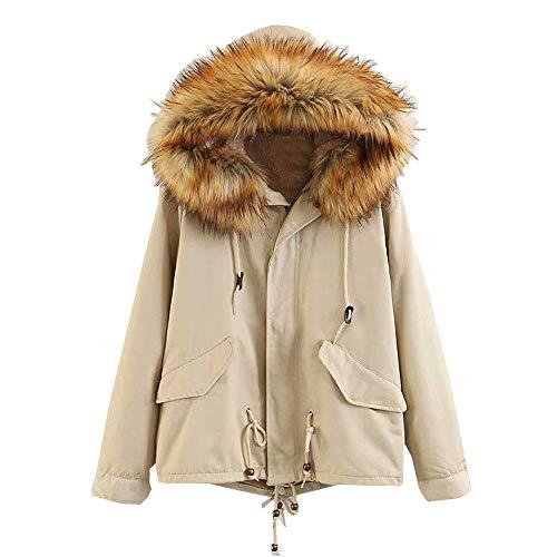 Lazzboy Damen Mantel mit Fellkapuze Zip Jacket Winterjacke übergangsmantel Trenchcoat Winterparka Outwear(Khaki,36)