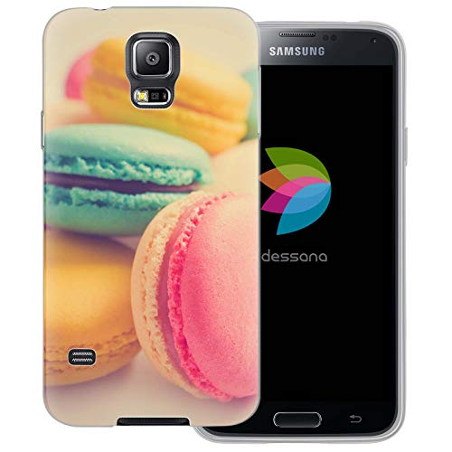 dessana Macarons transparente Schutzhülle Handy Case Cover Tasche für Samsung Galaxy S5/Neo Bunte Kekse