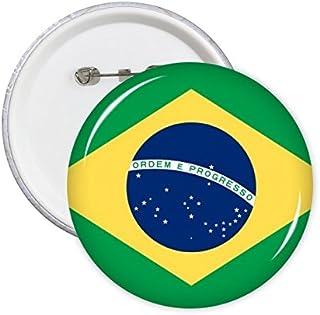 DIYthinker Brésil Bouton Drapeau national Amérique du Sud Symbole Pays Motif Mark Ronde Pin Badge 5Pcs L