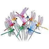 10 Stück Gartendeko Libellen Stangen mit Metallaufkleber, Garten Libellen für Pflanzen Blumen Ornamente,Vase -Rot,Gelb,Blau,Grün
