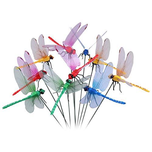 10 Piezas libélulas en Varillas Para Decoración de Jardín, libélulas de Jardín para Decoración de Planta,Patio, Flores Adornos para jarrón, Maceta, Rojo/Amarillo/Azul/Verde