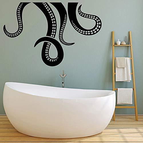 wZUN Octopus Tentakel Wandtattoo Meerestier Nautische Vinyl Aufkleber Schlafzimmer Badezimmer Meeresfrüchte Restaurant Dekoration 68X44cm