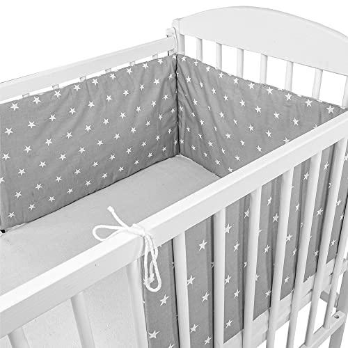 Cojin protector cuna 180 x 30 cm - chichonera bebe cuna Gris con estrellas blancas