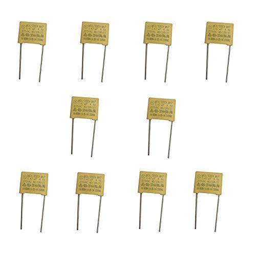 HeyNana 10 unidades Condensador Polipropileno no Polarizado 275V 470 nF 0,47uF 470J, Quita el parpadeo de los leds al apagar la luz.