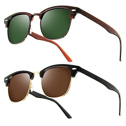 UrbanSky Sonnenbrille D.B. - Klassische Browline Brille - Schadstofffrei - UV 400 Filter (Schwarz/Braun)