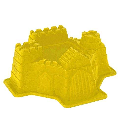 Backform Burg, Ritterburg Burgbackform Schlossbackform Motivbackform, Silikon, ca. 21 x 19.5 x 7.5 cm, gelb
