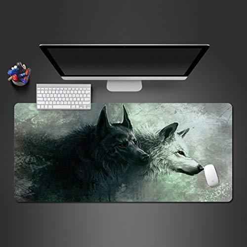 SYQC witte en zwarte wolf muis voor spel speler spel matten Computer Office toetsenbord Ultra-dunne tafel matten muismat 900x300x2