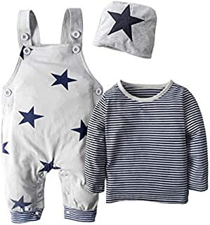 BIG ELEPHANT 3 Pieces Baby Boy's Shirt Overalls Clothing Set with Hat H92 Grey Large