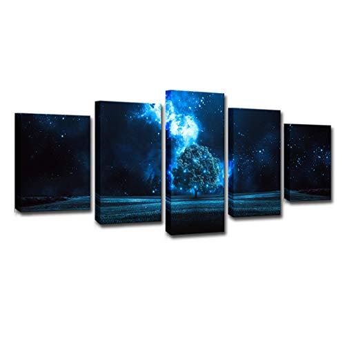 Gdlkss Cuadros Modernos Impresión de - Noche Estrellada del árbol de los sueños - Impresión de 5 Piezas Material Tejido no Tejido Impresión Artística Imagen Gráfica - 200x100cm