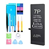 Battery for iPhone 7 Plus,3400mAh High Capacity New 0 Cycle Replacement Battery,for A1661,A1784,A1785,with Complete Professional Replacement Tool Kits