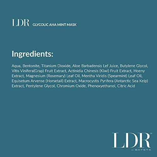 LDR by Baysyx - Glycolic AHA Mint Mask (1.7 Oz)   Refreshing Rub on Facial Skincare Mask with Sea Kelp, Aloe Vera Gel, Bentonite, Grape, Kiwi & Honey Extract   Made in the USA from Natural Ingredients