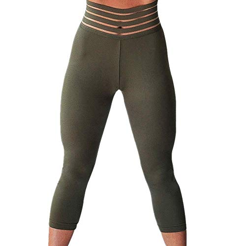 KeeYi High Waist Yoga Pants Tummy Control Workout Pants for Women Stretch Yoga Leggings Green