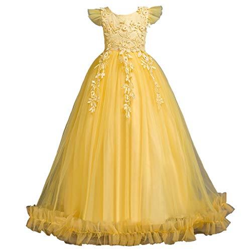 Puseky Abito da Ragazza Senza Maniche con Scollo a V, Vestito da Abito da Sposa Floreale (Color : Yellow, Size : 13Y-14Y)