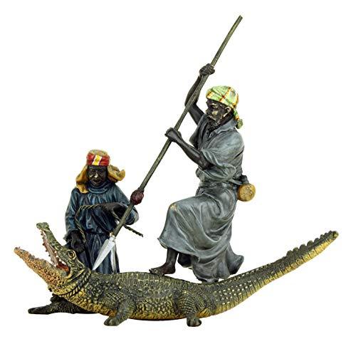 Bergmann Wien Vienna Vienna Peinture à la main en bronze vieilli Motif : arabe et crocodile 21,5 cm Largeur 22,5 cm