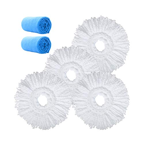 Microfiber Replacement Mop Head Refill for 360° Spin Magic Mop - Round Shape Standard Universal Size (4 Pack)