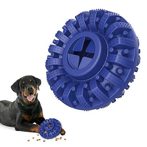 Lewondr Dauerhaft Kauspielzeug Hund, Ungiftig Kautschuk Zahnreinigung Gummi Kauartikel Bewegung Hundespielzeug, Interaktives Füttern Spielzeug Zahnpflege für Mittelgroße und Große Hunde - Blau