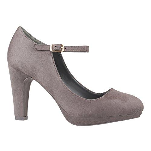Elara Damen Pumps Riemchen High Heels Vintage Chunkyrayan BL692-PM Grey-39