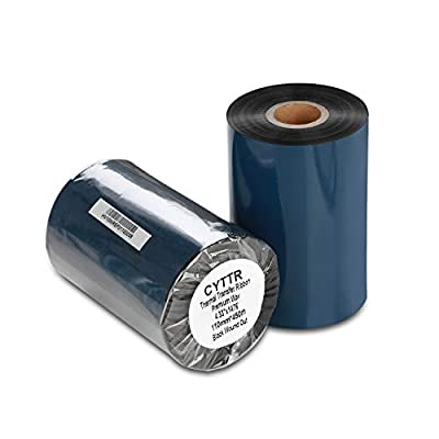 "CYTTR Thermal Transfer Ribbon - Premium Resin-Enhanced Wax Printer Ribbon 1inch core Ink Out - 1 Roll (4.33"" x 1476') 110mm450m for Zebra ZT410,ZT420,ZM400,Sato,Datamax,Tsc,Tec, Printer"