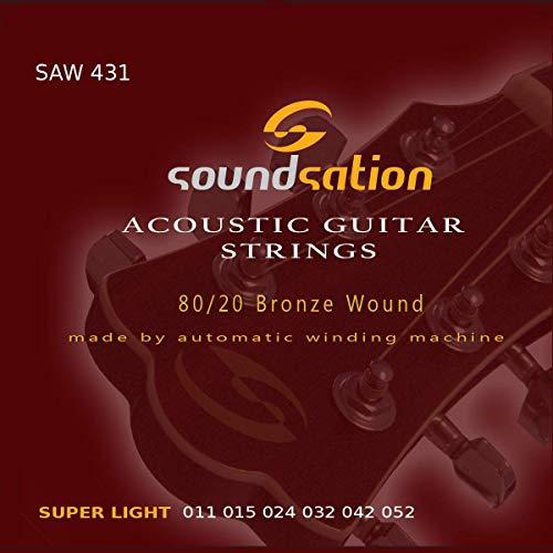 Cuerdas para guitarra acústica SOUNDSATION SAW431 tensión (11-52) super light