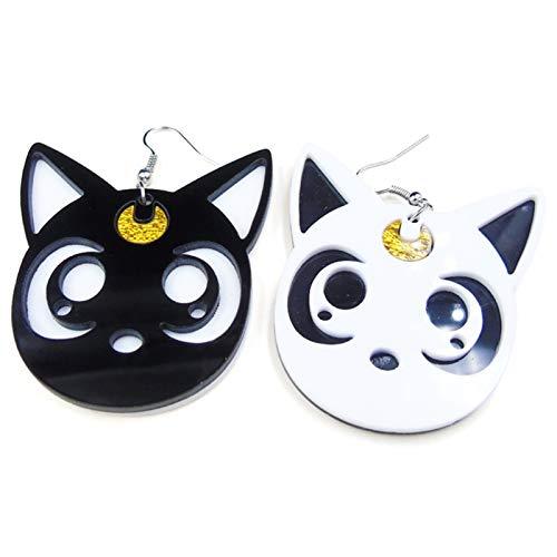 Saicowordist Sailor Moon - Pendientes de aro con diseño de gato blanco y negro