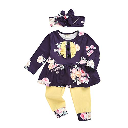 Gallity 3Pcs Baby Girls Floral Clothes Toddler Ruffle Flower Print Long Sleeve Flare Tunic Dress +Pants+ Headband Baby Girl Outfit Set (6-12 Months, Purple)