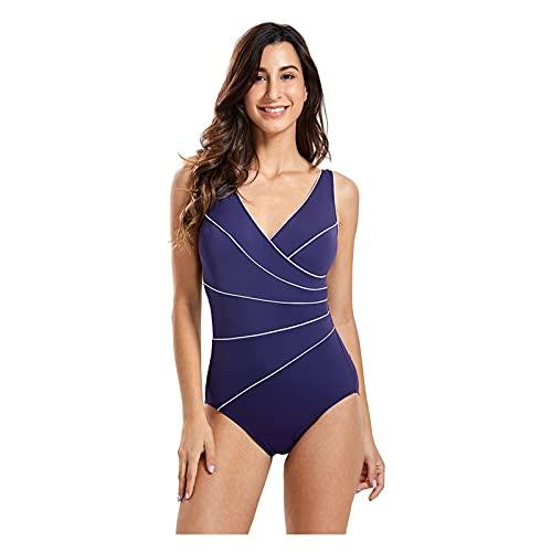 Traje de baño Adelgazante para Mujer Traje de baño con canalé de una Pieza Traje de baño de Talla Grande Traje de baño con Control de Barriga (Color : Navy02, Size : 38)