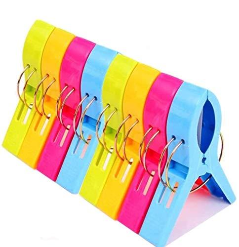 Voarge 8 pinzas para toalla de playa, de plástico, 4 colores, grandes, para secar ropa, toalla de playa, alfombra, etc.