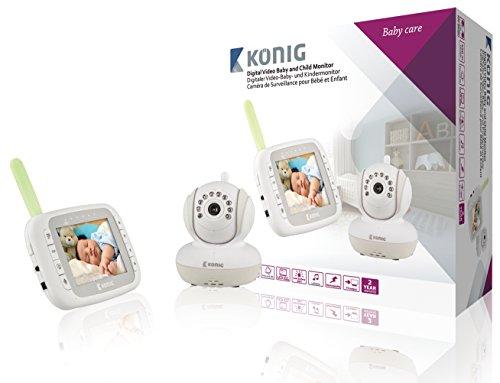 König KN-BM80 DECT babyphone Gris, Color blanco vigila bebes - Vigilabebé (DECT babyphone, 250 m, Gris, Color blanco, 8 h, Níquel-metal hidruro (NiMH), 100-240 V)