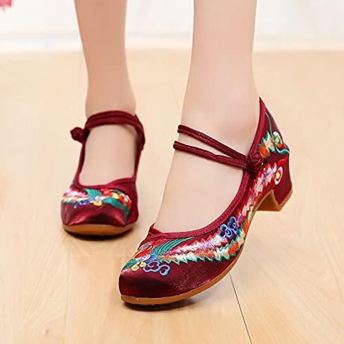 LGYKUMEG Damen Elegant Ethnische Bestickte Schuhe Tanzschuhe, Schuhe Traditionelle Chinesische Frauen,Vintage Damen Bestickte Mary Janes,Wine red,36EU