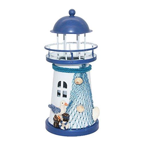 Deko Mittelmeer Style Leuchtturm Eisen Kerze LED Licht Haus Dekoration - Möwe, 14.5cm