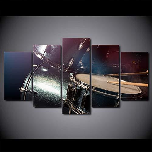 TIANJJss 5 foto's op canvas met HD 5 stuks canvas druk op canvas trommel schilderij muziekinstrumenten foto's wandfoto's voor woonkamer