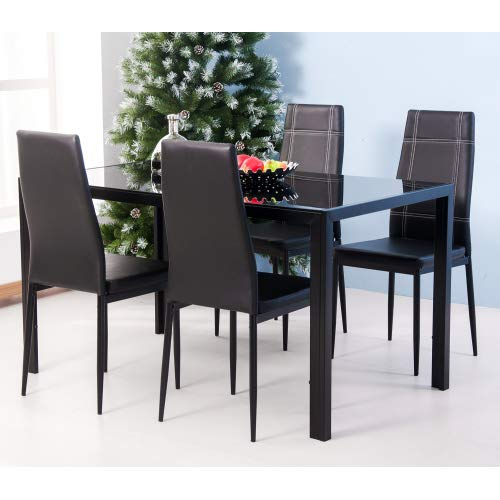 MOOSENG Dining Table Set for 4-5pcs Kitchen Furniture with Four Chairs, Tempered Glass Rectangular Tabletop, Ergonomic Faux Leather Back, Sturdy Metal Frame, Compact Design, Black for 4