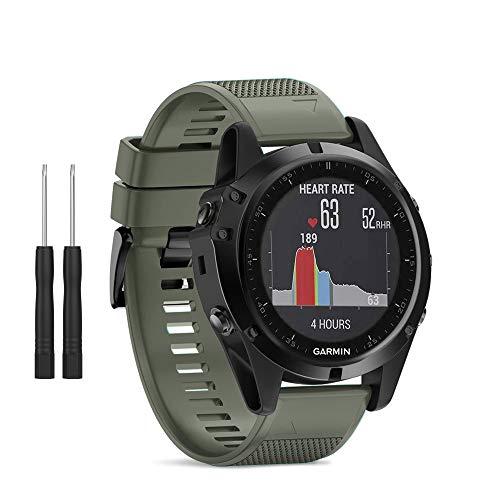 HSWAI Compatible BandsReplacement for Garmin Fenix 5X/Fenix 5X Plus/Fenix 3/Fenix 3 HR,26mm Width Soft Silicone Watch Strap with Black Metal Buckle for Women & Men(Army Green)
