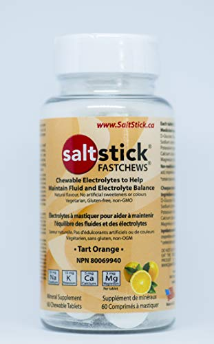 SaltStick Fastchews, Electrolyte Replacement Tablets for Rehydration, Exercise Recovery, Youth & Adult Athletes, Hiking, Hangovers, & Sports Recovery, Bottle of 60 Tablets, Orange Flavor