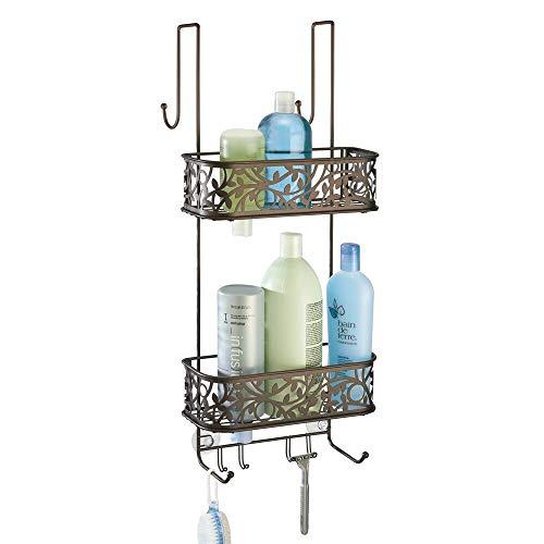 mDesign Metal Over Door Bathroom Tub & Shower Caddy, Hanging Storage Organizer Center - Holds Shampoo, Conditioner, Body Wash, Razor, Dry Towel - 2 Baskets, 8 Hooks, Floral Design - Bronze