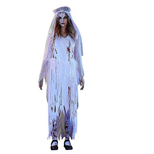 BaZhaHei Halloween Disfraz Disfraz de Bar Fiesta de Disfraces de Halloween para Mujer Zombie Novia Mujer Adulta Sexy Blanco CadáVer Novia Halloween Cosplay Fiesta Disfraz