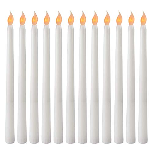 VVXXMO 28 Cm Pack Of 12 Flameless LED Taper Candles,with Yellow Flickering Light,Battery Operated