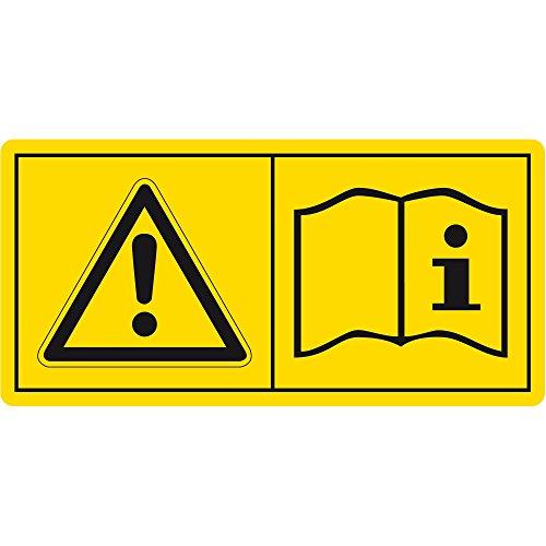 Labelident Warnaufkleber - Betriebsanleitungen/Sicherheitshinweise lesen und beachten - 38 x 19 mm - 100 selbstklebende Warnzeichen in 1 Packung, Vinyl Folie selbstklebend